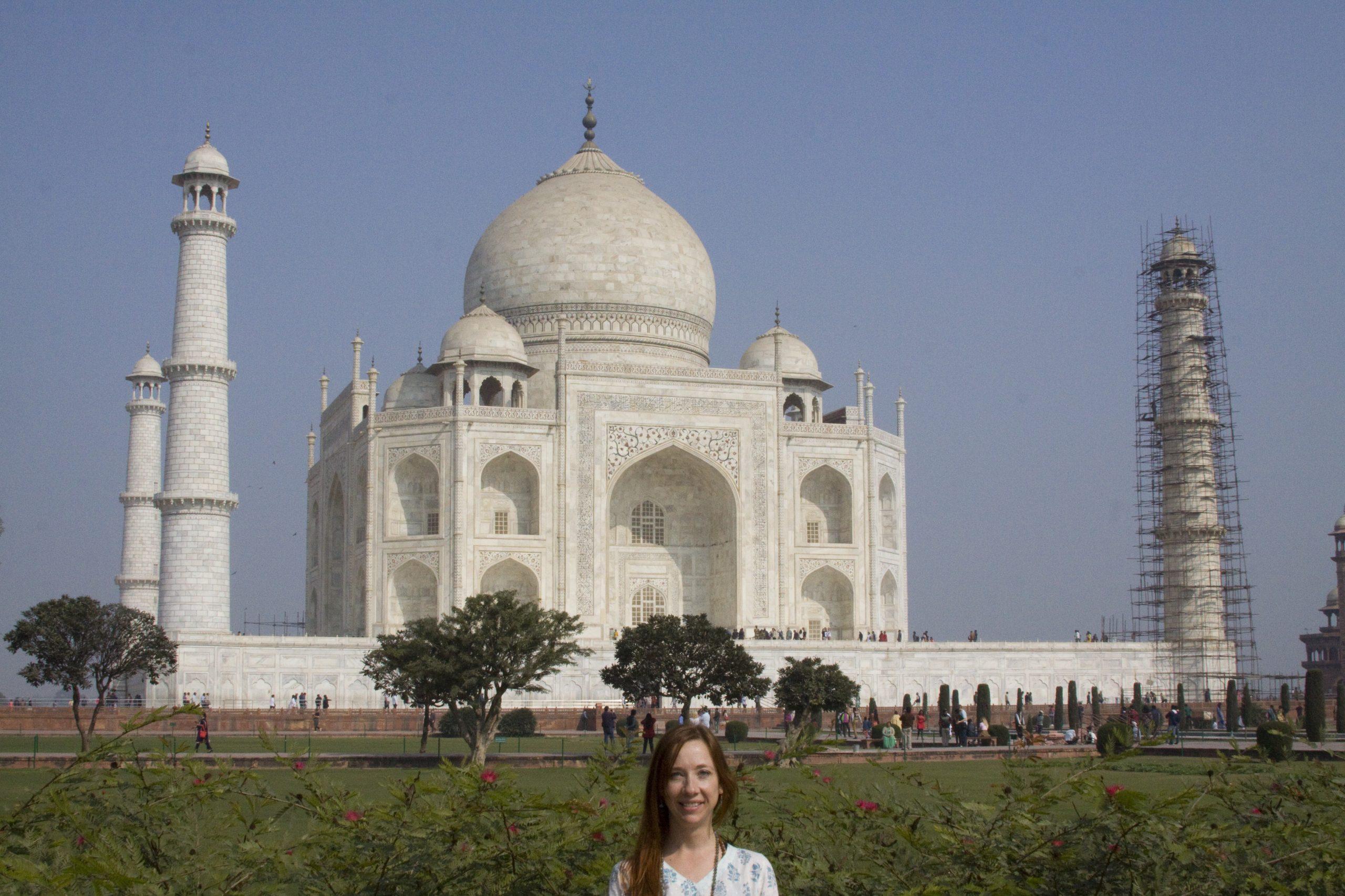 Jill in front of the Taj Mahal-India